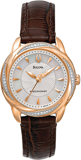Bulova Rose Gold Tone Precisionist Brightwater Quartz Mother Of Pearl Diamonds Strap 98R152