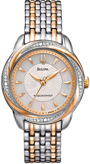 Bulova Rose Two Tone Precisionist Brightwater Quartz Mother Of Pearl Dial Diamonds 98R153