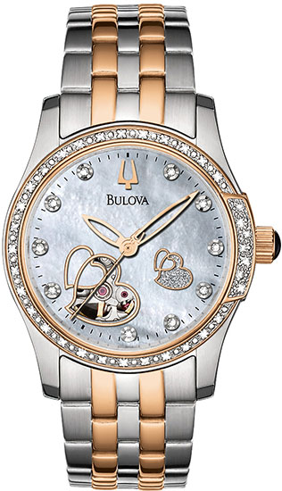 Bulova Two Tone Stainless Steel Heart Skeleton Automatic Mother of Pearl Dial 98R154