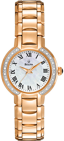 Bulova Stainless Steel Rose Gold Tone Mother of Pearl Diamond Dress Watch 98R156