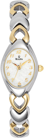 Bulova Two Tone Stainless Steel Dress White Dial 98V02