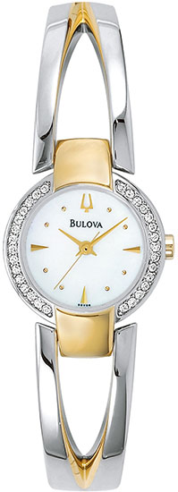 Bulova Two Tone Quartz Bangle Style Crystal Mother Of Pearl Dial 98V08