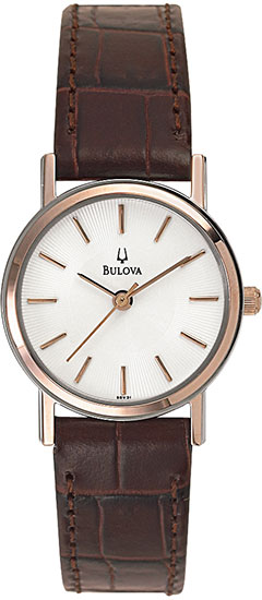 Bulova Gold Tone Dress Stainless Steel White Dial Strap 98V31