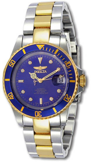 Invicta Two Tone Stainless Steel Coin Edge Pro Diver Blue Dial Swiss Automatic 9938C