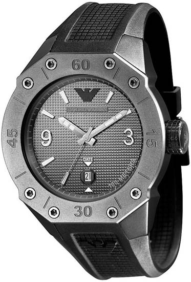 Armani Stainless Steel Case Gray Dial Quartz BLack Polyurethane Rubber Strap AR0661