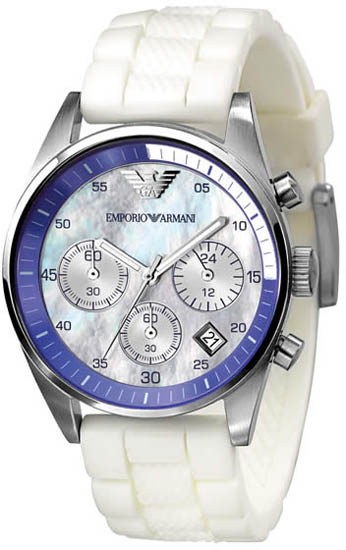 Armani Stainless Steel Case Quartz Chronograph Mother of Pearl Dial Blue Bezel White Rubber Strap AR5884
