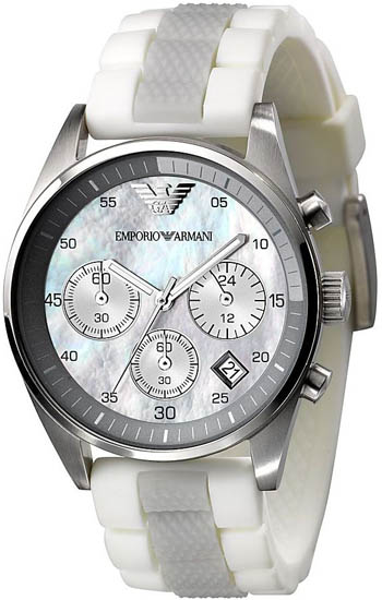 Armani Stainless Steel Case Chronograph Mother of Pearl Dial Silver Bezel Two Tone Rubber Strap AR5885