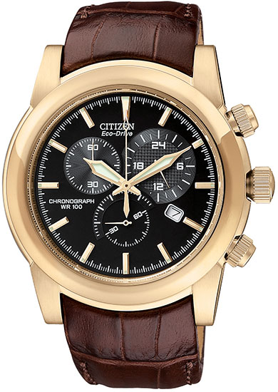 Citizen Eco-Drive Rose Gold Tone Black Dial Chronograph Brown Leather Strap AT0553-05E