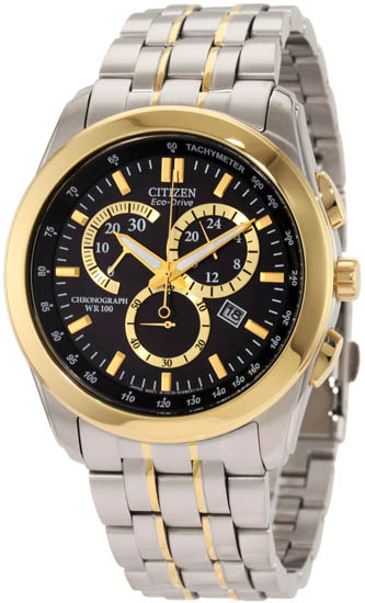 Citizen Two Tone Stainless Steel Black Dial Eco-Drive Chronograph AT1184-55E