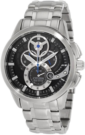 Citizen Stainless Steel Black Dial Eco-Drive Chronograph AT2060-52E