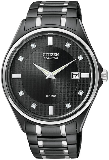 Citizen Black Stainless Steel Eco-Drive Diamonds AU1054-54G