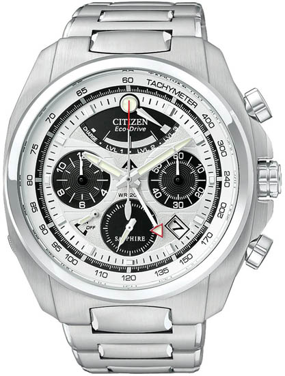 Citizen Stainless Steel Calibre 2100 Sapphire Chronograph Silver Tone Dial AV0050-54A