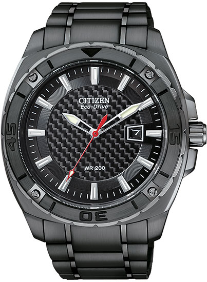 Citizen Black Stainless Steel Case Carbon Fiber Dial Eco-Drive AW1095-54E