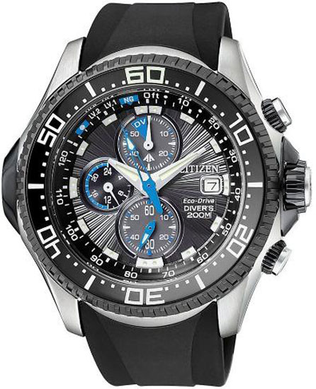 Citizen Stainless Steel Aqualand Chronograph Rubber Strap BJ2115-07E