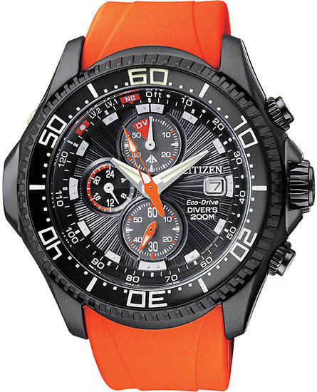 Citizen Stainless Steel Aqualand Chronograph Black Dial Orange Rubber Strap BJ2118-09E