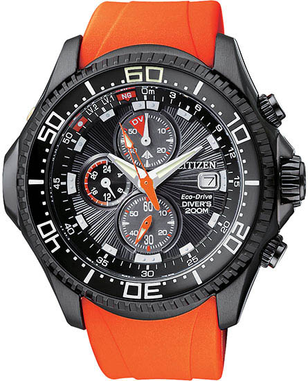 Citizen Stainless Steel Aqualand Chronograph Orange Rubber Metric Depth Meter BJ2119-06E