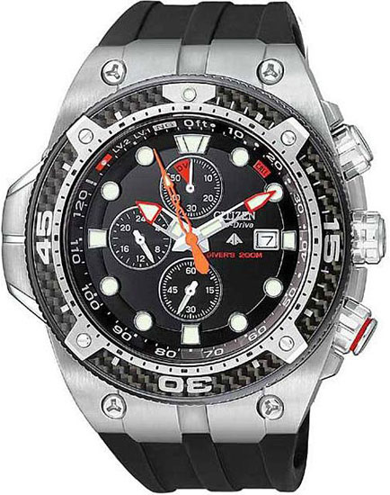 Citizen Promaster Carbon Eco Drive Chronograph Dive Rubber Strap BJ2135-00E