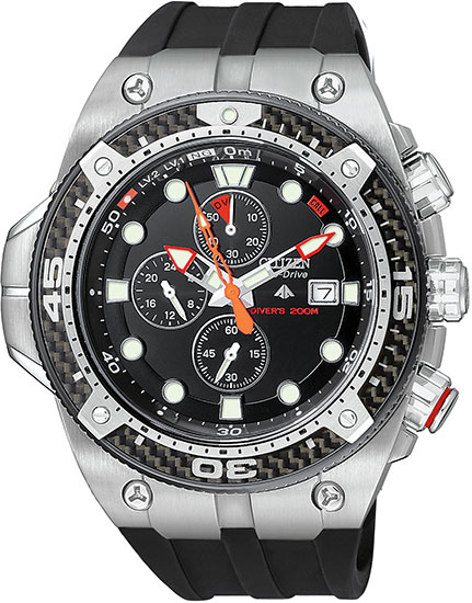 Citizen Promaster Dive Carbon Fiber Bezel Eco-Drive Chronograph Black Rubber Strap BJ2145-06E