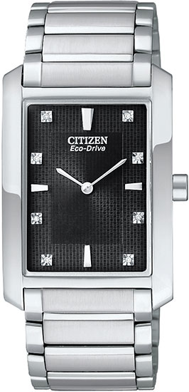 Citizen Eco-Drive Strainless Steel Palidoro Diamond Accented Black Dial BL6050-57E