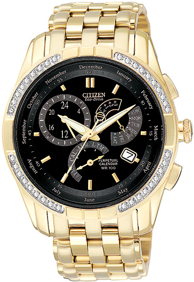 Citizen Gold Tone 8700 Calibre Perpetual Calendar Diamonds BL8042-54E