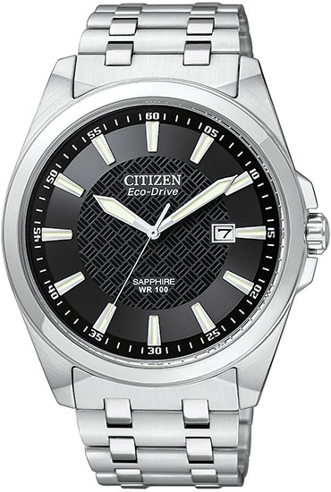 Citizen Eco-Drive Stainless Steel Sapphire Black Dial BM7100-59E