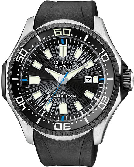 Citizen Stainless Steel Promaster Eco-Drive Diver Rubber Strap BN0085-01E
