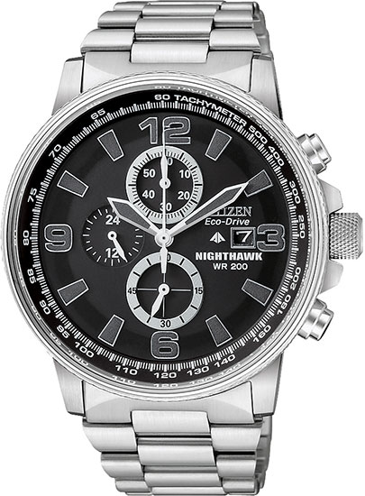 Citizen Stainless Steel NightHawk Eco-Drive Chronograph Black Dial CA0290-51E