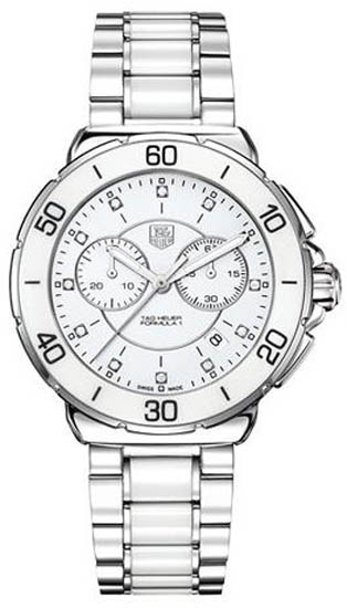 Tag Heuer Stainless Steel Ceramic Formula 1 White Dial Chronograph Diamonds CAH1211BA0863