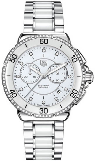 Tag Heuer Stainless Steel Ceramic Formula 1 White Dial Chronograph Diamonds CAH1213BA0863