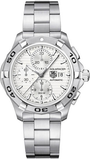 Tag Heuer Aquaracer Automatic Silver Dial Chronograph Link Bracelet CAP2111BA0833