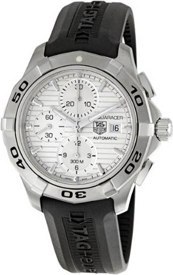 Tag Heuer Stainless Steel Aquaracer Silver Dial Chronograph Rubber Strap CAP2111FT6028