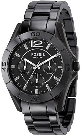 Fossil Black Ceramic Bracelet Black Dial Quartz CE1003
