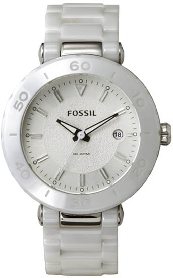 Fossil White Ceramic Quartz Link Bracelet Mother Of Pearl Dial CE1030