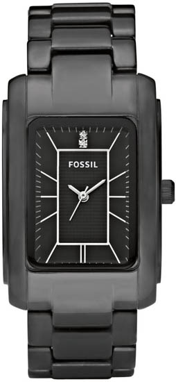 Fossil Black Ceramic Quartz Link Bracelet Black Dial CE1032