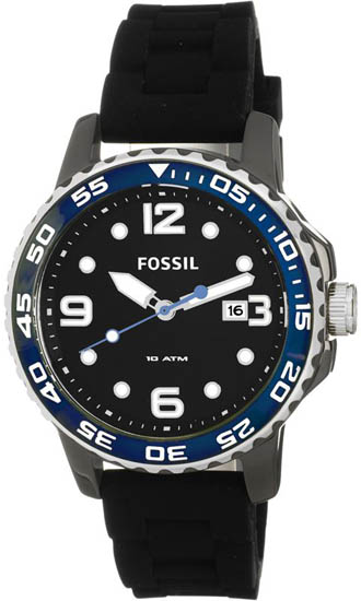 Fossil Ceramic Quartz Black Dial Silicone Strap CE5004