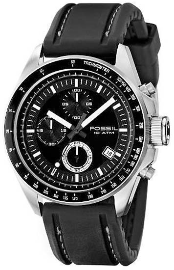 Stainless Steel Quartz Chronograph Black Dial Silicone Strap