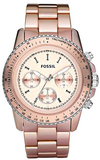 Fossil Quartz Chronograph Stella Aluminum Pink Dial Pink Band CH2707