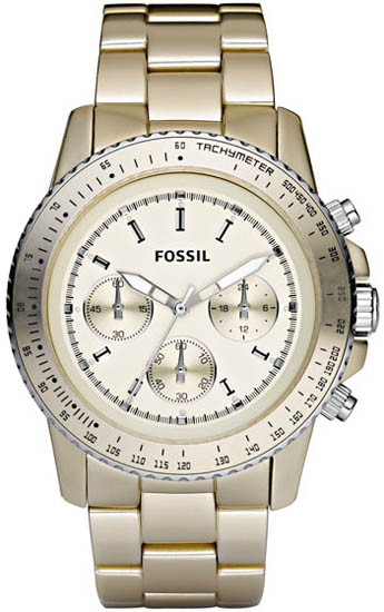 Fossil Quartz Chronograph Stella Aluminum Champagne Dial Champagne Band CH2708