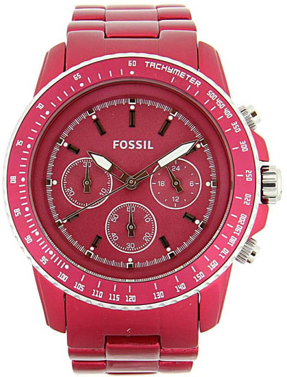Fossil Quartz Chronograph Stella Aluminum Red Dial Red Band CH2709
