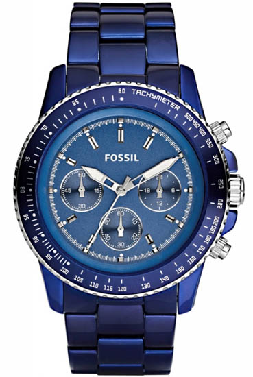 Fossil Quartz Chronograph Stella Aluminum Blue Dial Blue Band CH2710