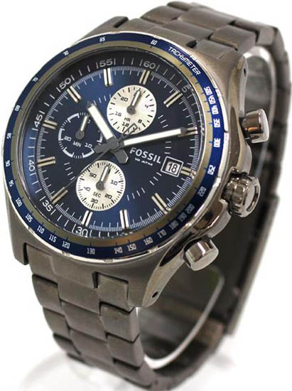 Stainless Steel Case and Bracelet Chronograph Blue Tone Dial Date Display