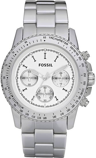 Fossil Quartz Chronograph Stella Aluminum Silver Dial Silver Band CH2745