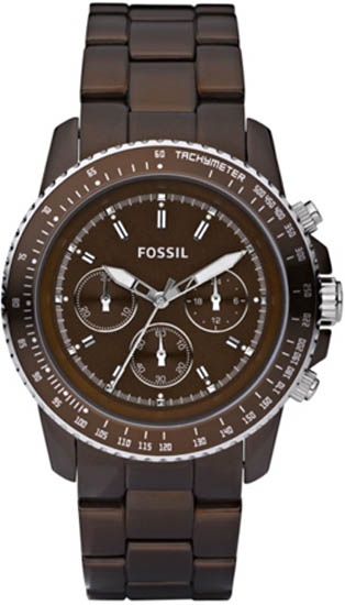 Fossil Quartz Chronograph Stella Aluminum Brown Dial Brown Band CH2746