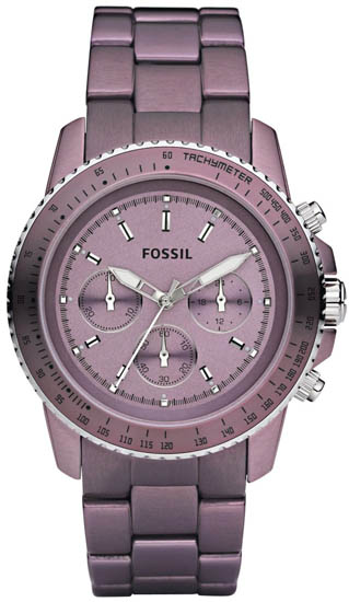 Fossil Quartz Chronograph Stella Aluminum Purple Dial Purple Band CH2747