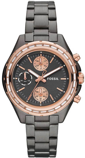 Chronograph Stainless Steel Case and Bracelet Black Dial Rose Gold Bezel