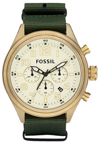 Fossil Stainless Steel Chronograph Cream Dial Nylon Strap DE5001