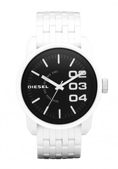 Diesel DZ1522 Mens Watch White Plastic Case and Bracelet Black Dial White ...