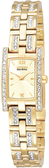 Citizen Gold Tone Silhouette Eco-Drive Swarovski Crystals EG2352-52P