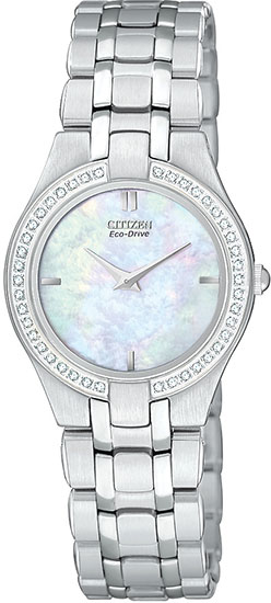 Citizen Stainless Steel Eco-Drive Stiletto Mother Of Pearl Dial Diamonds EG3150-51D