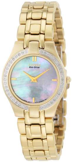 Citizen Gold Tone Eco-Drive Stiletto Mother Of Pearl Dial Diamonds EG3152-56D